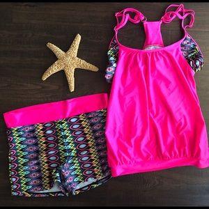 Size Medium modest bathing suit high waist & tank